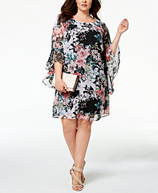 Connected Plus Size Bell-Sleeve Printed Chiffon Dress