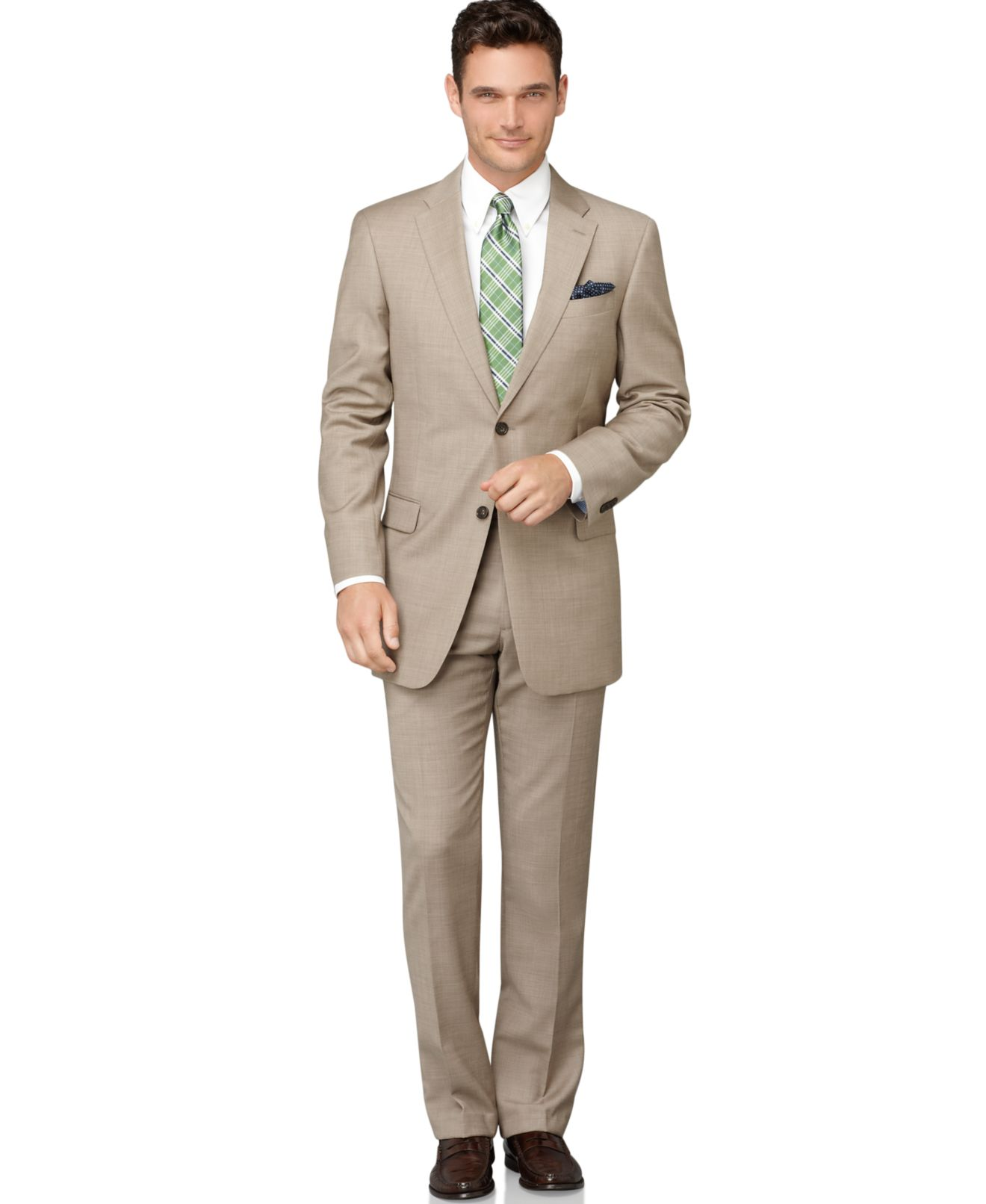 Tommy Hilfiger Tan Sharkskin Classic-Fit Suit Separates - Suits