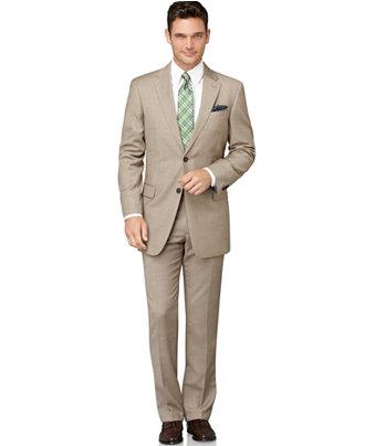 Tommy Hilfiger Tan Sharkskin Classic-Fit Suit Separates - Suits