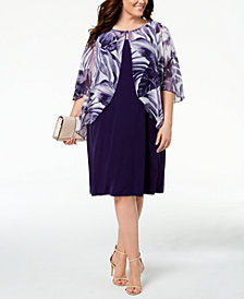 Connected Plus Size Printed Chiffon Mock-Jacket Dress