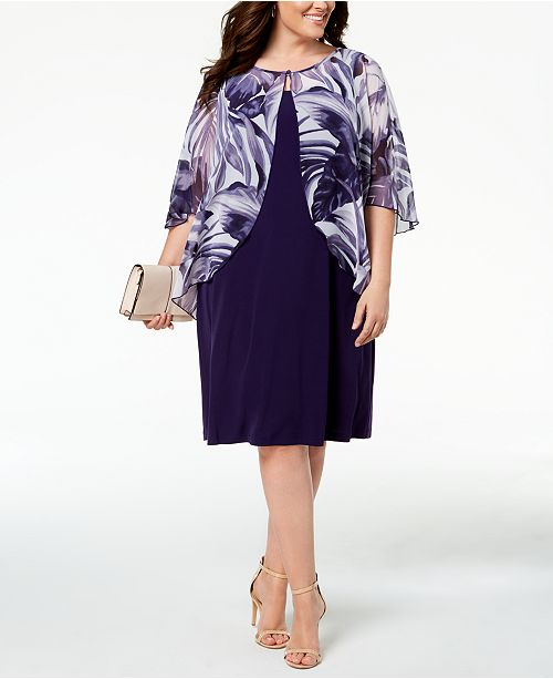 Connected Plus Size Printed Chiffon Mock Jacket Dress Dresses