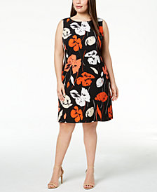 Kasper Plus Size Tropical-Print Crepe Sheath Dress