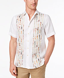 Tasso Elba Men's Tropical-Print Pieced Shirt, Created for Macy's