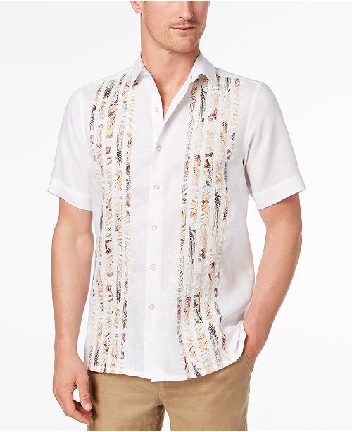 f09e79fb ... Tasso Elba Men's Tropical-Print Pieced Shirt, Created for Macy's ...