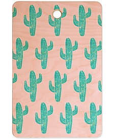 Deny Designs Bianca Green Linocut Cactus Cutting Board