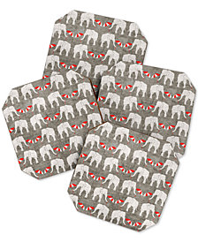 Deny Designs Holli Zollinger Elephant And Umbrella Coaster Set