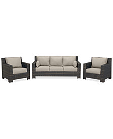 Viewport Outdoor Wicker 3-Pc. Seating Set (1 Sofa & 2 Club Chairs) with Custom Sunbrella® Colors, Created for Macy's