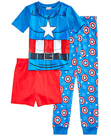 Marvel's® Captain America 3-Pc. Cotton Pajama Set, Little Boys & Big Boys