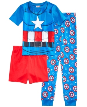 Marvels Captain America 3Pc Cotton Pajama Set Little Boys  Big Boys