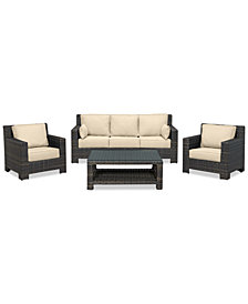 Viewport Outdoor Wicker 4-Pc. Seating Set (1 Sofa, 2 Club Chairs & 1 Coffee Table) with Custom Sunbrella® Colors, Created for Macy's