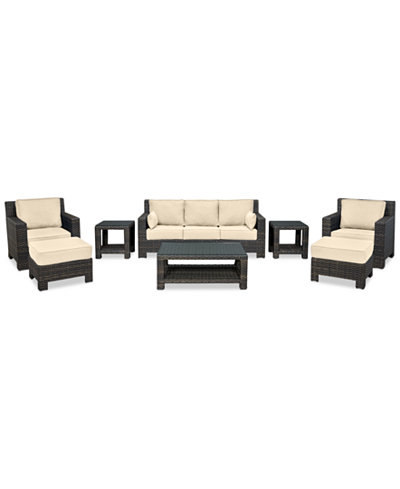 Viewport Outdoor Wicker 8-Pc. Seating Set (1 Sofa, 2 Club Chairs, 2 Ottomans, 1 Coffee Table & 2 End Tables) with Custom Sunbrella® Colors, Created for Macy's