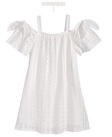 Sequin Hearts 2-Pc. Lace Dress & Choker Necklace Set, Big Girls