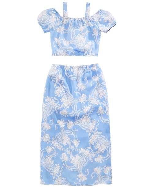 ae9a411fc6f Crystal Doll 2-Pc. Printed Maxi-Overlay Shorts Dress
