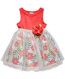 Sweet Heart Rose Glitter-Mesh Floral-Print Dress, Little Girls