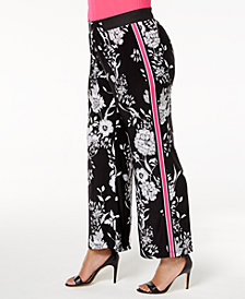 I.N.C. Plus Size Printed Wide-Leg Pants, Created for Macy's