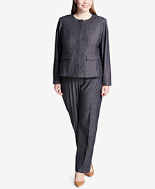 Calvin Klein Plus Size Collarless Blazer & Patterned Straight-Leg Pants