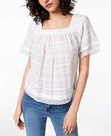 Vince Camuto Textured Crochet-Trim Cotton Top