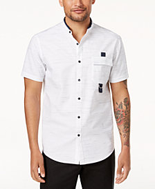 I.N.C. Men's Textured Stripe Band-Collar Utility Shirt, Created for Macy's