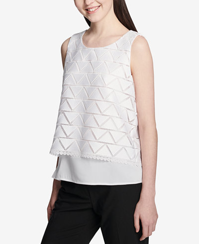 Calvin Klein Textured Overlay Top