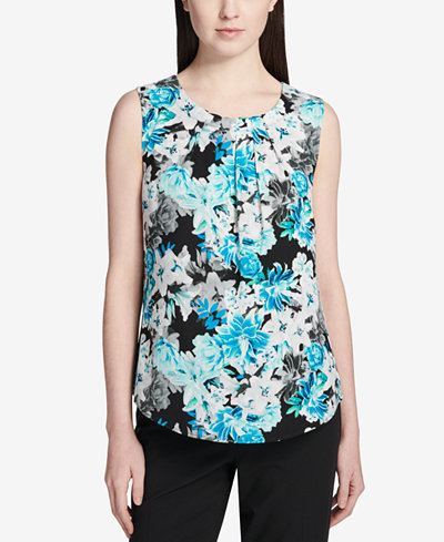 Calvin Klein Pleated Floral-Print Top