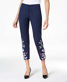 Alfani Petite Embroidered Hollywood-Waist Skinny Pants, Created for Macy's