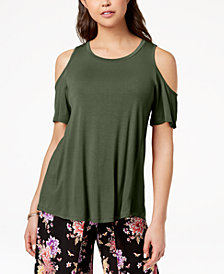 Hippie Rose Juniors' Cold-Shoulder T-Shirt