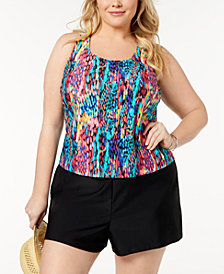 GO by Gossip Plus Size Spotlight Racerback Tankini Top & Swim Shorts, Created for Macy's