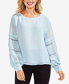 Vince Camuto Pleated Crochet-Striped Top