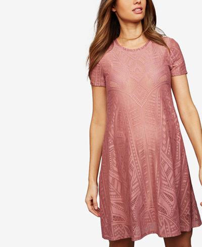 Bcbgmaxazria Maternity Lace Crew-Neck Dress