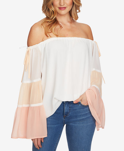 1.STATE Colorblocked Off-The-Shoulder Top