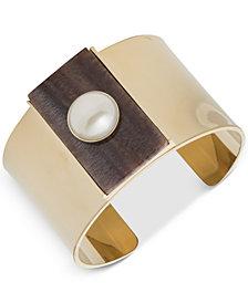 DKNY Gold-Tone Imitation Pearl & Horn Cuff Bracelet, Created for Macy's