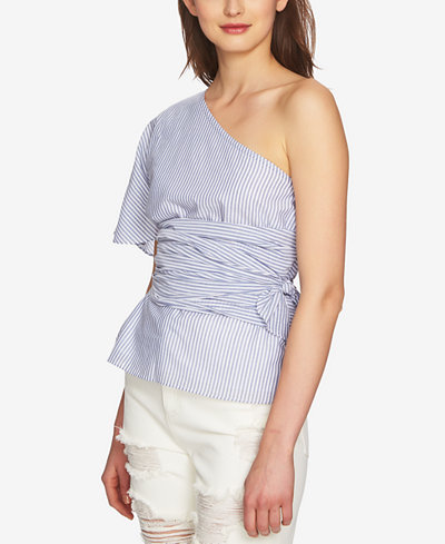 1.STATE Cotton Striped One-Shoulder Wrap Top