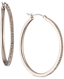 DKNY Rose Gold-Tone Pavé Large Hoop Earrings, Created for Macy's