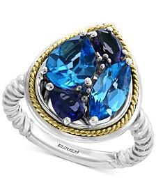 EFFY® Multi-Gemstone Teardrop Ring (3-9/10 ct. t.w.) in Sterling Silver & 18k Gold
