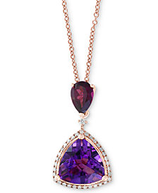 "EFFY® Multi-Gemstone (3-9/10 ct. t.w.) & Diamond (1/8 ct. t.w.) 18"" Pendant Necklace in 14k Rose Gold"