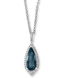 "EFFY® London Blue Topaz (2-3/8 ct. t.w.) & Diamond (1/4 ct. t.w.) 18"" Pendant Necklace in 14k White Gold"