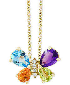 "EFFY® Multi-Gemstone (2 ct. t.w.) & Diamond Accent Butterfly 18"" Pendant Necklace in 14k Gold"