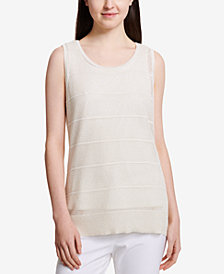 Calvin Klein Textured-Stripe Knit Shell Top