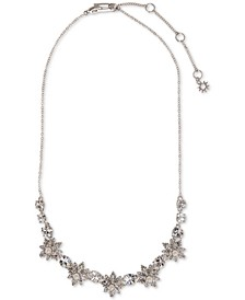 "Silver-Tone Crystal & Imitation Pearl Statement Necklace, 16"" + 3"" extender"