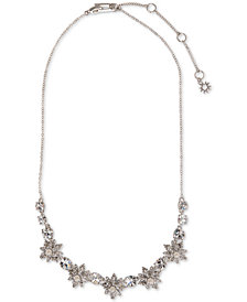 "Marchesa Silver-Tone Crystal & Imitation Pearl Statement Necklace, 16"" + 3"" extender"