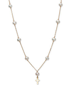 "Children's Cultured Freshwater Pearl (5mm) 14"" Cross Pendant Necklace in 14k Gold"
