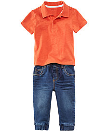 First Impressions Polo Shirt & Denim Jeans Separates, Baby Boys, Created for Macy's