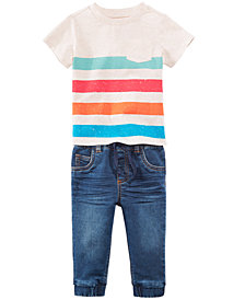 First Impressions Pocket T-Shirt & Denim Jeans Separates, Baby Boys, Created for Macy's