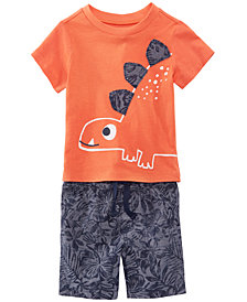 First Impressions Graphic-Print T-Shirt & Printed Shorts Separates, Baby Boys, Created for Macy's