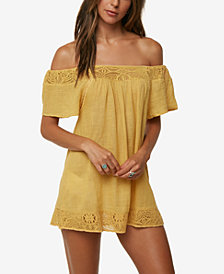 O'Neill Juniors' Indiana Cotton Off-The-Shoulder Dress Cover-Up