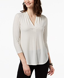 Petite Dot-Print V-Neck Top, Created for Macy's