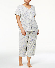 Charter Club Plus Size Printed Picot-Trim Pajama Set, Created for Macy's