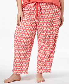 Charter Club Plus Size Cotton Knit Printed Pajama Pants, Created for Macy's