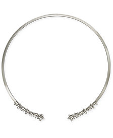"I.N.C. International Concepts Silver-Tone Crystal Cluster Flower 17"" Cuff Collar Necklace, Created for Macy's"
