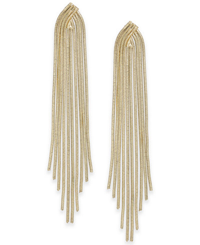 Thalia Sodi Gold-Tone Snake Chain Fringe Drop Earrings, Created for Macy's